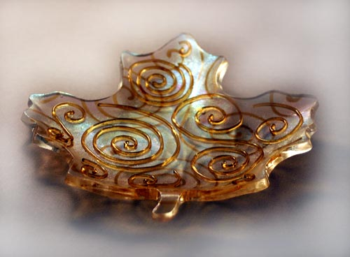 fused art glass leaf
