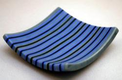 striped square sushi plate